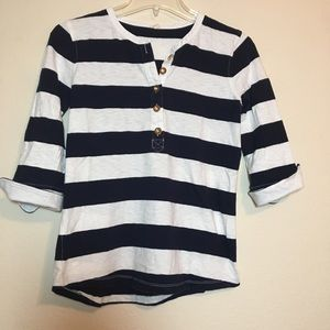 J. crew 1/2 Sleeve Striped Henley with gold button